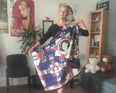 Балерина Волочкова получила в подарок орден Нахимова на платке