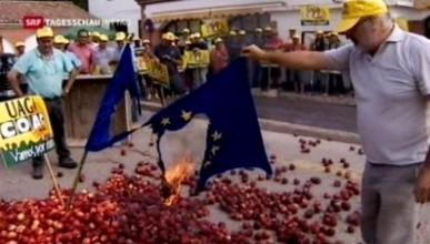 Испанские фермеры сожгли флаги ЕС