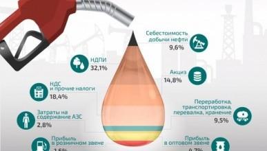 Структура стоимости литра бензина в России