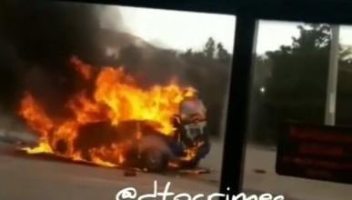 Как на крымской трассе сгорел автомобиль (ФОТО)
