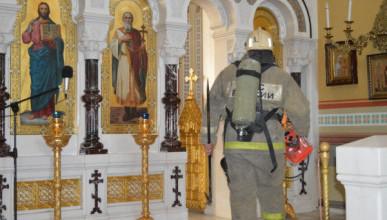 Условный пожар в соборе Севастополя