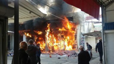 В Симферополе загорелся Центральный рынок