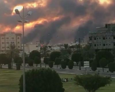 Видео атаки дронов на саудовские нефтяные объекты