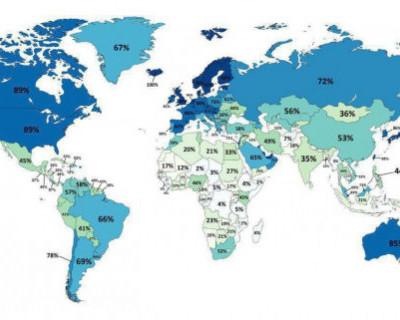 Какая доля населения стран Мира имеет доступ в Интернет