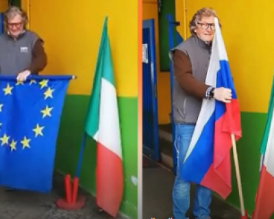 Итальянец снял флаг ЕС и вместо него установил российский триколор