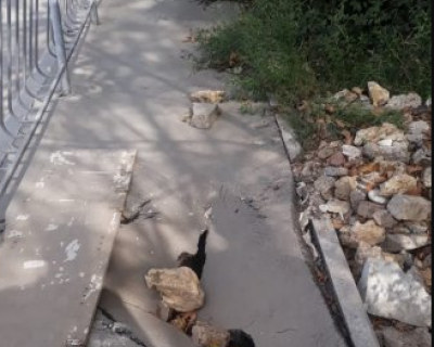 На улице Громова завершаются работы по восстановлению тротуара