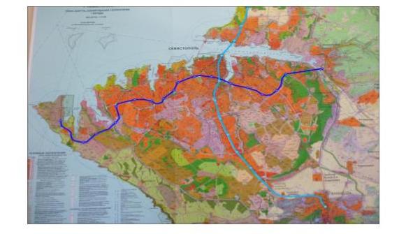 Схема железнодорожного транспорта и легкого метро в Севастополе