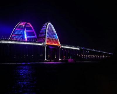 Крымский мост обновил ночную подсветку