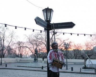 В Одессе повесили Порошенко (видео)